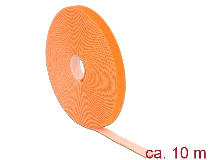 Delock® Klett-Kabelbinder L 10m x B 13mm, Rolle, orange [18744]