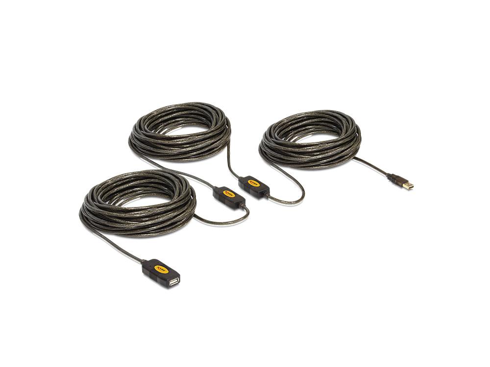 Delock® USB 2.0 Verlängerung Stecker A an Buchse A, aktiv, schwarz, 30m [83453]