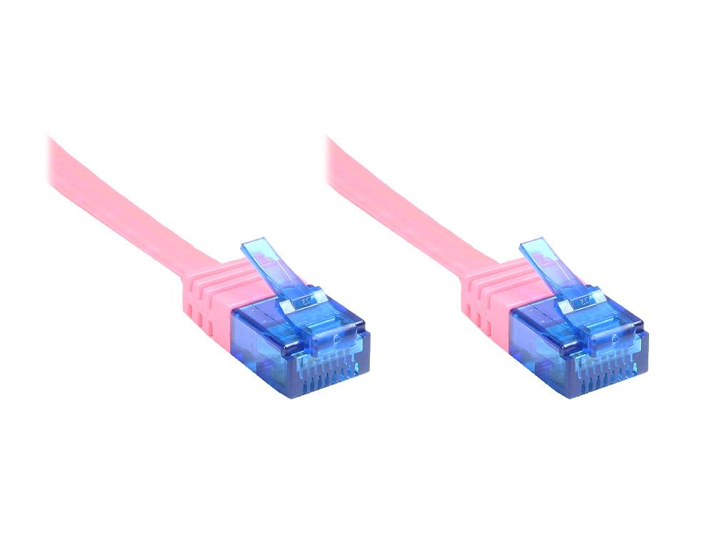 Patchkabel, Cat. 6a, U/UTP, FLACHKABEL, 500 MHz, magenta, 10m