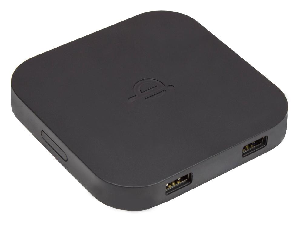 Wireless Smartphone Ladegerät 2-port, 1x wireless (1A), 2x USB (1,5A), Qi Standard, schwarz