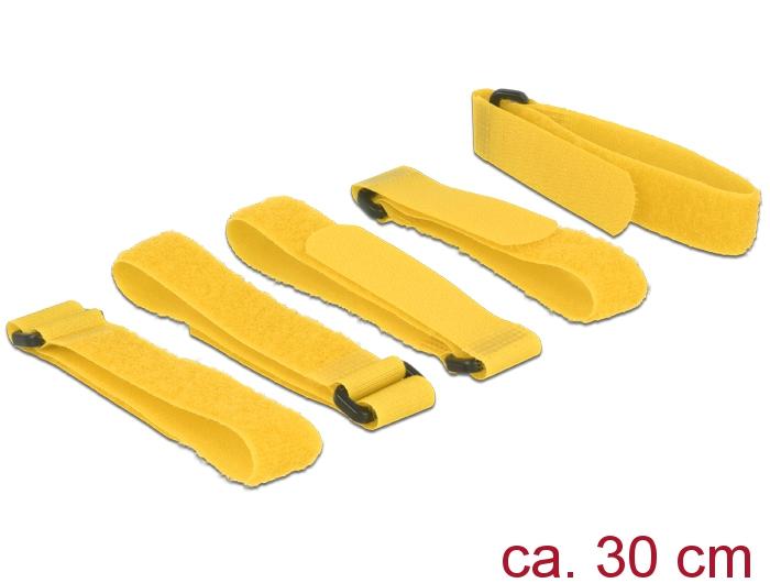 Delock® Klett-Kabelbinder L 300mm x B 20mm, 5 Stück mit Schlaufe, gelb [18708]