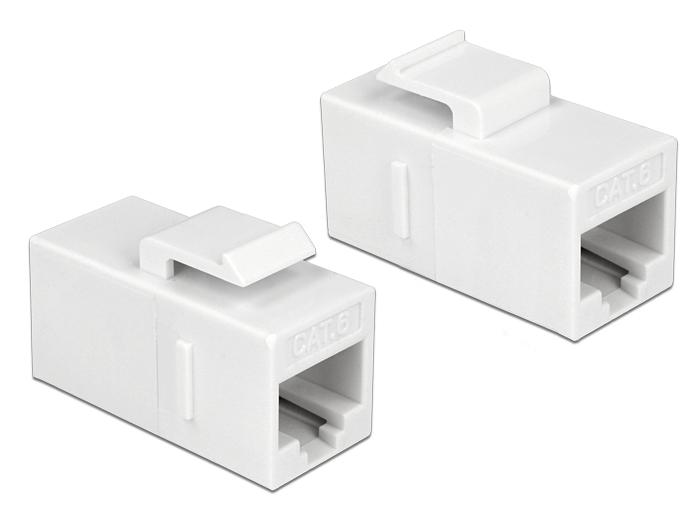 Delock® Keystone Modul RJ45 Buchse an RJ45 Buchse, Cat.6 UTP, weiss [86379]