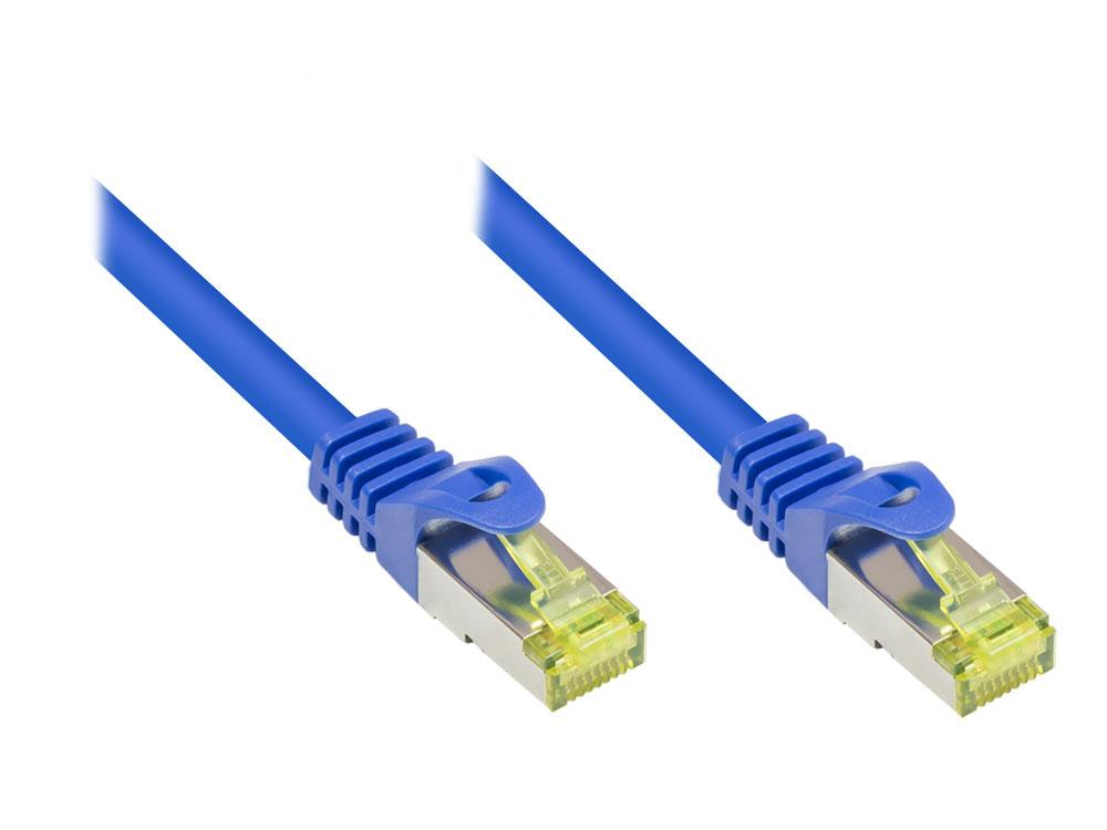 Patchkabel mit Rastnasenschutz, Cat. 6A, S/FTP PiMF halogenfrei, 500MHz, blau, 7,5m