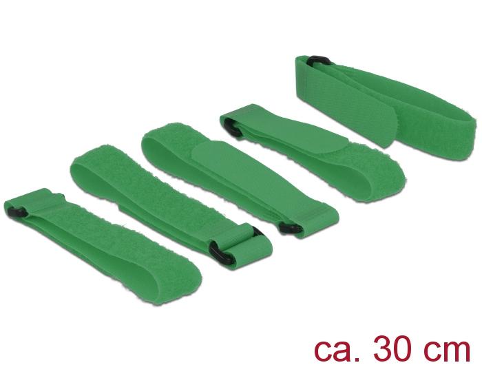 Delock® Klett-Kabelbinder L 300mm x B 20mm, 5 Stück mit Schlaufe, grün [18706]