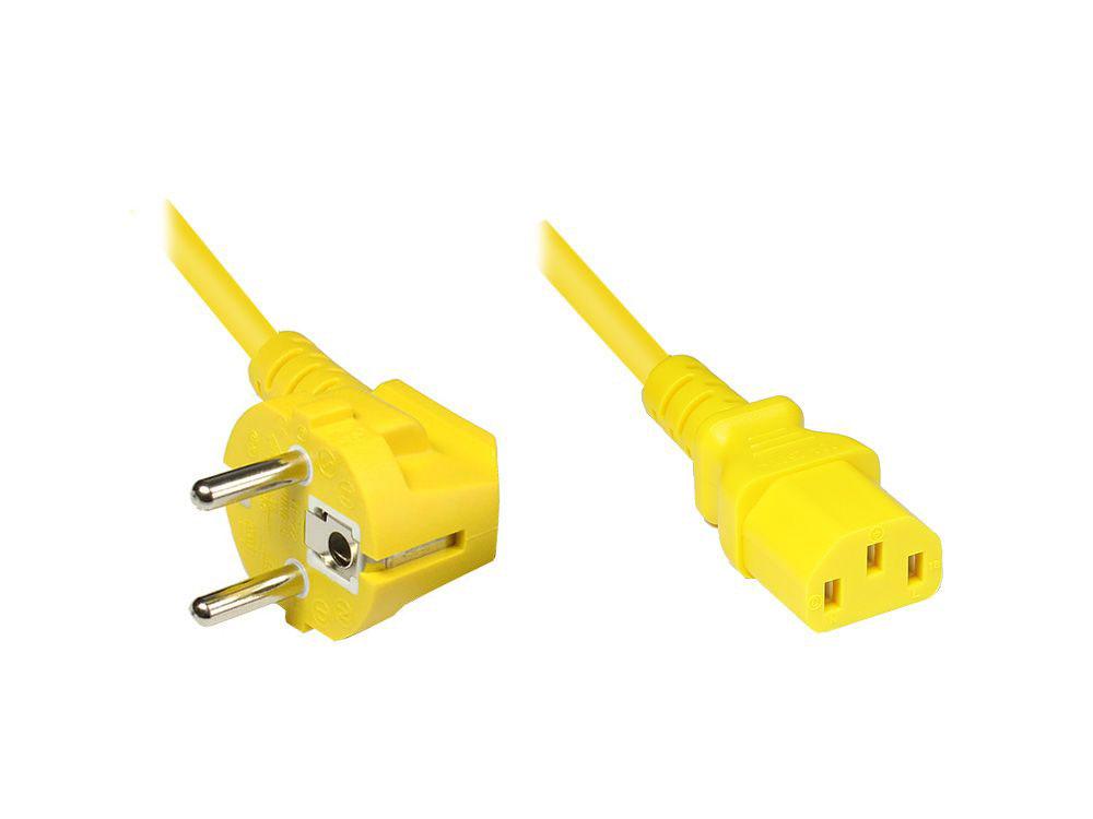 Netzkabel Schutzkontakt-Stecker an Kaltgeräte-Buchse, Typ F an C13, gelb, 5m
