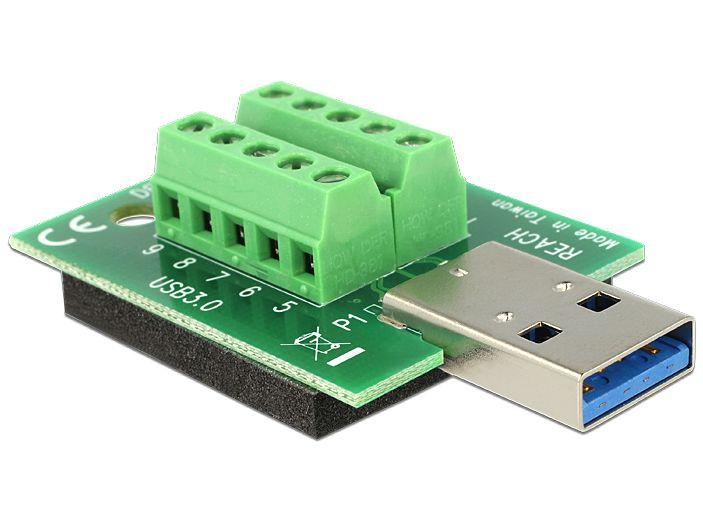 Delock® Adapter 10 Pin Terminalblock an USB 3.0 Typ A Stecker mit Pad [65639]