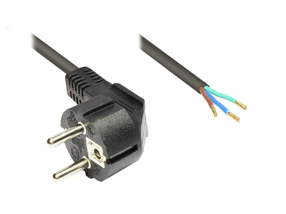 Netzkabel Schutzkontakt-Stecker gewinkelt mit abisolierten Enden, schwarz, 1,5m