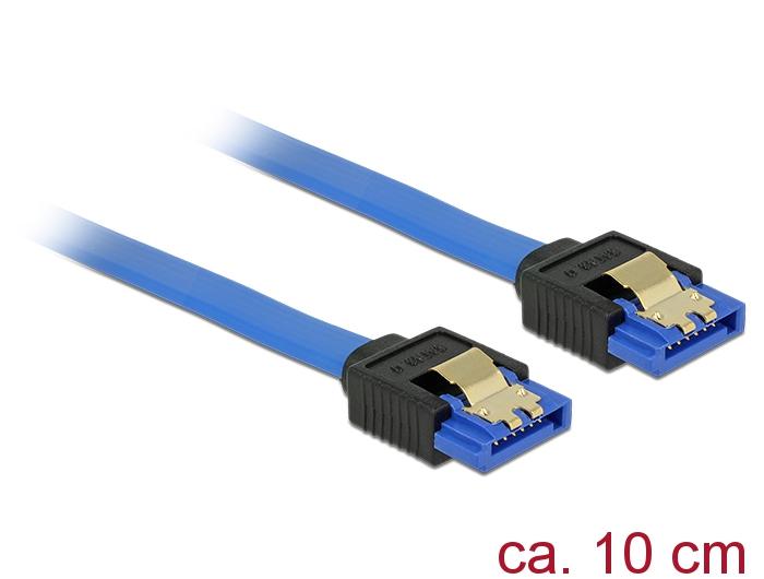 Delock® Kabel SATA 6 Gb/s Buchse gerade an SATA Buchse gerade, mit Goldclips, blau, 0,1m [84976]