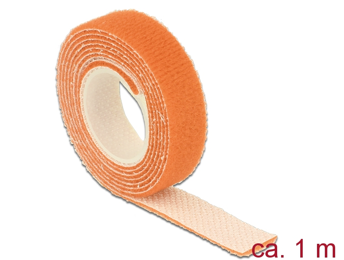 Delock® Klett-Kabelbinder L 1m x B 13mm, Rolle, orange [18741]