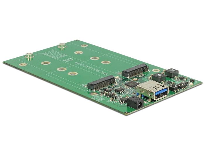 Delock® Externes Gehäuse 2x M.2 Key B an USB 3.1 Gen.2 mit RAID, silber/weiss [42568]
