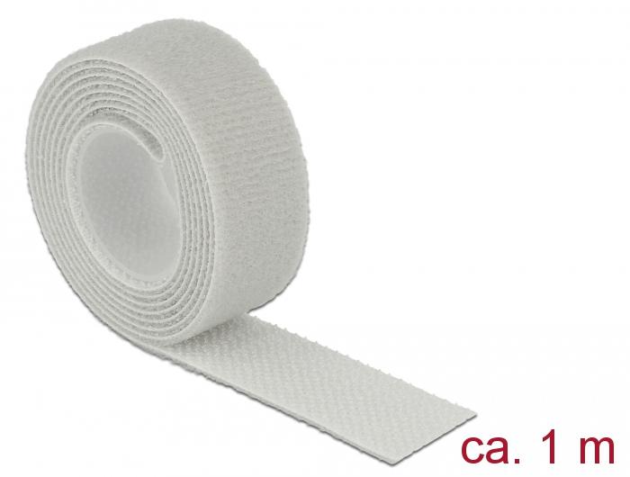 Delock® Klett-Kabelbinder L 1m x B 20mm, Rolle, grau [18278]