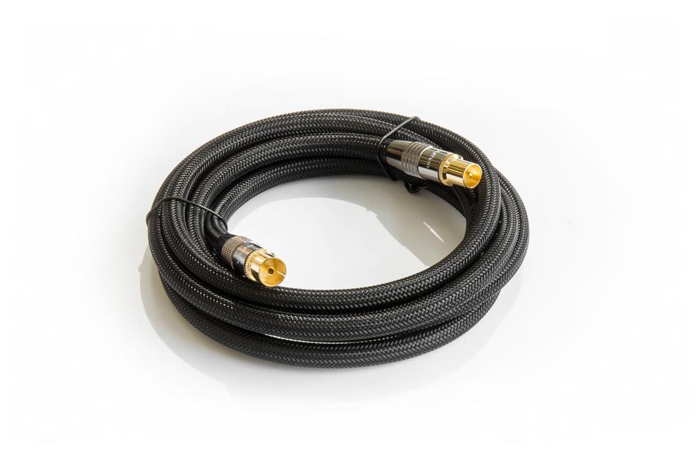 PYTHON® Series SAT Antennenkabel, IEC/Koax Stecker an Buchse vergoldet, Schirmmaß 120db, 75Ohm, Nylongeflecht schwarz, 2m