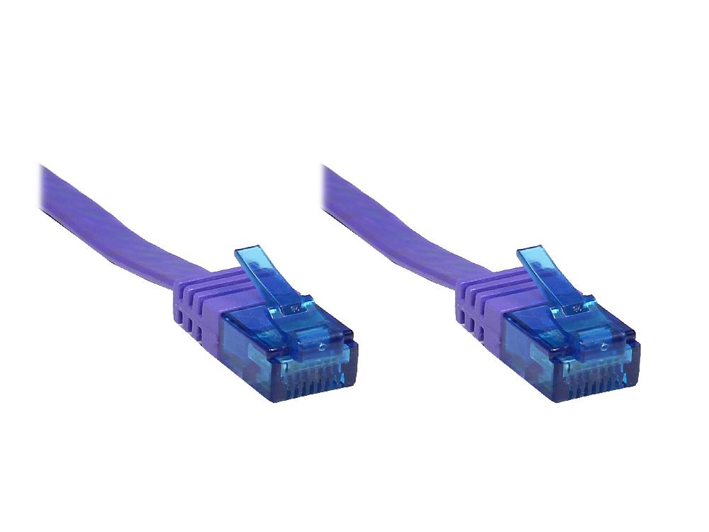 Patchkabel, Cat. 6a, U/UTP, FLACHKABEL, 500 MHz, violett, 0,5m