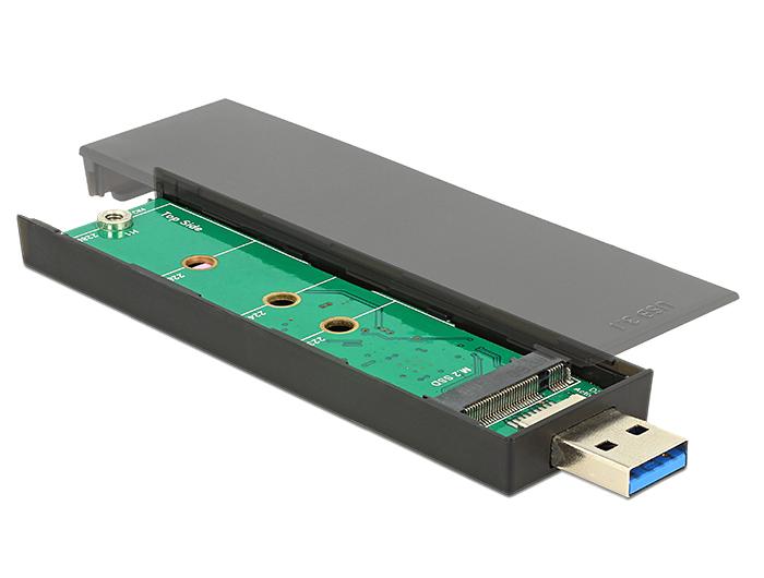 Delock® Externes Gehäuse M.2 Key B 80mm SSD an USB 3.1 Gen.2 Typ-A Stecker, schwarz [42593]