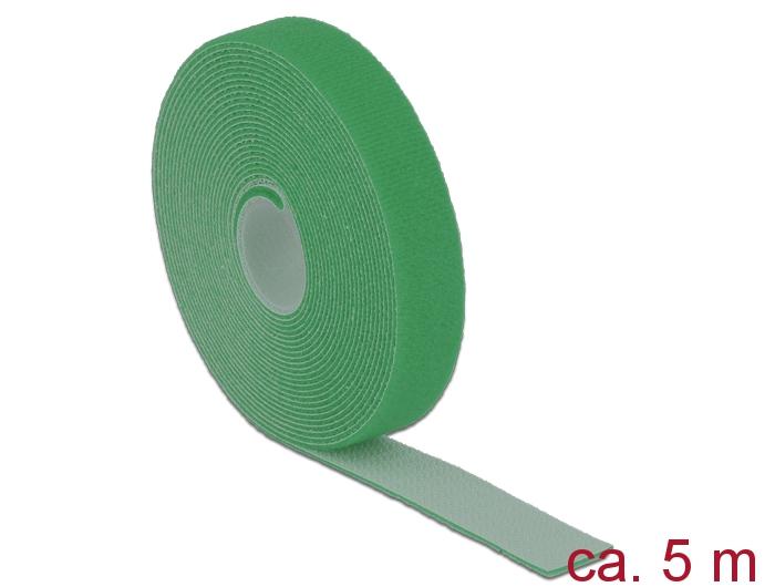 Delock® Klett-Kabelbinder L 5m x B 20mm, Rolle, grün [18731]