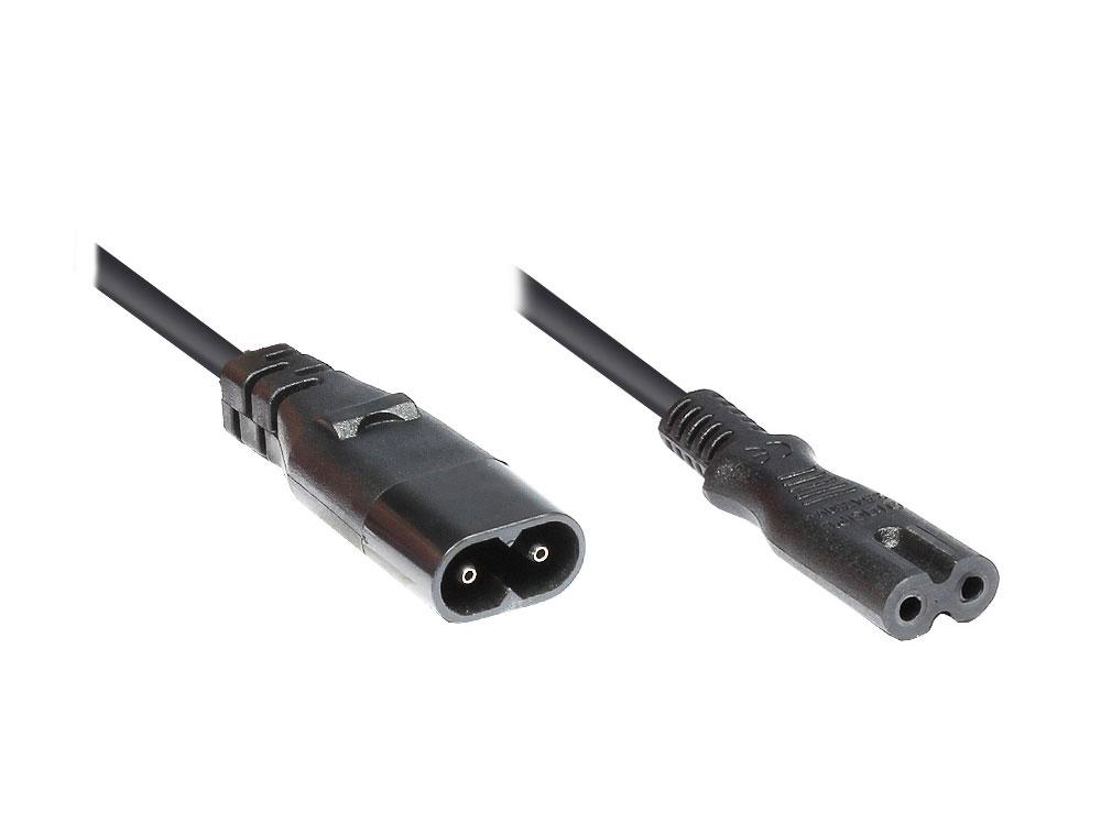 Netzkabel Geräteverlängerung IEC 60320 C7 > C8, schwarz, 2m
