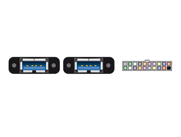 Delock® Kabel USB 3.0 Pfostenbuchse 2mm 19 Pin an 2x USB 3.0 Typ-A Buchse zum Einbau, schwarz, 0,80m [85244]