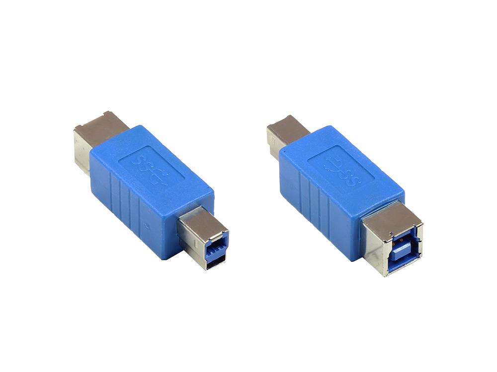 Adapter USB 3.0 Typ B Stecker auf Typ B Buchse, blau