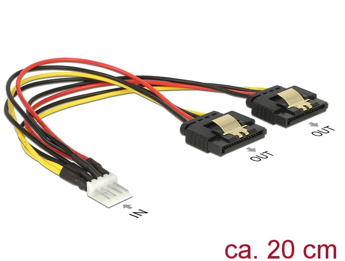 Delock® Kabel Power Floppy 4 Pin Stecker an 2x SATA 15 Pin Buchse, Metallclips, 0,2m [85236]