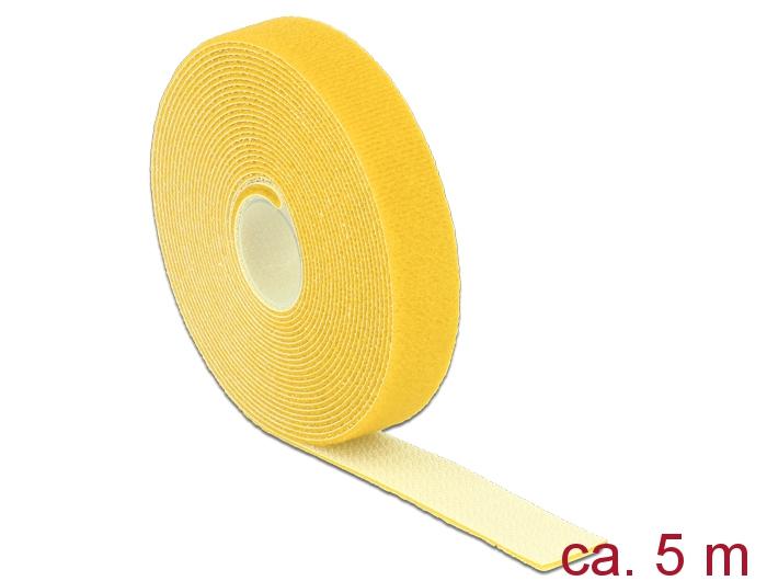 Delock® Klett-Kabelbinder L 5m x B 20mm, Rolle, gelb [18739]