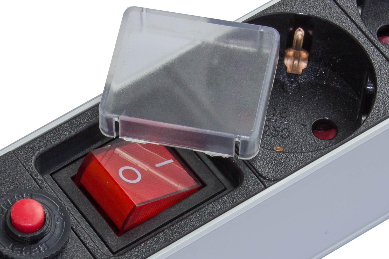 """Steckdosenleiste 19"""", 1HE, Schutzkontakt Stecker an 8x Schutzkontakt Buchse, ÜSS, Schalter, Aluminiumprofil, schwarz/silber"""