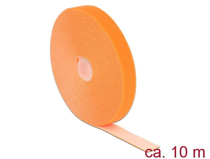 Delock® Klett-Kabelbinder L 10m x B 20mm, Rolle, orange [18748]