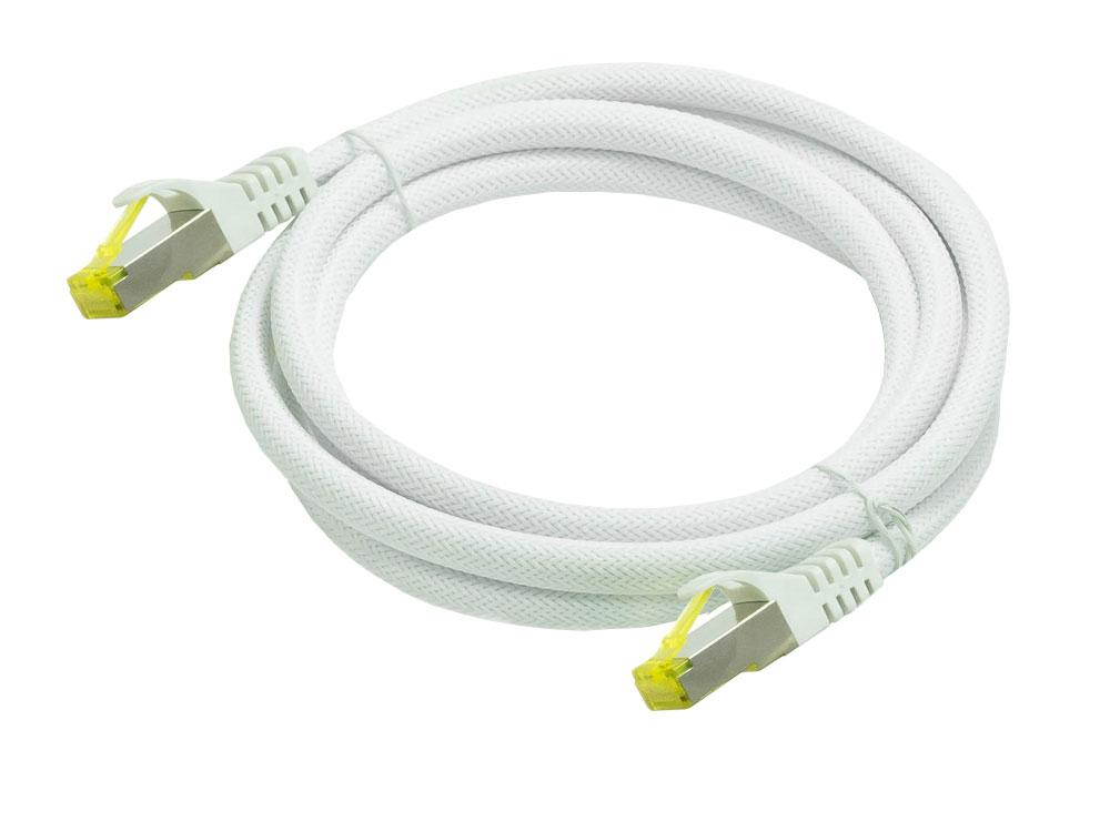 Python® Series RJ45 Patchkabel mit Rastnasenschutz & Nylongeflecht, Cat. 6A, S/FTP, PiMF, halogenfrei, 500MHz, OFC, weiss, 0,5m