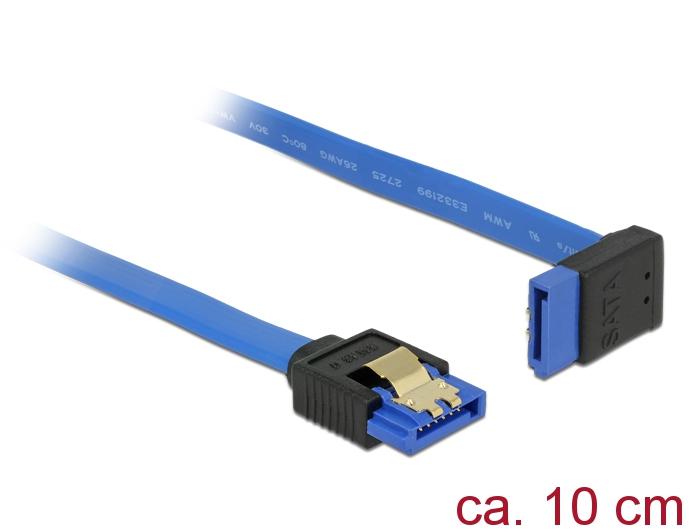 Delock® Kabel SATA 6 Gb/s Buchse gerade an SATA Buchse oben gewinkelt, mit Goldclips, blau, 0,7m [84998]