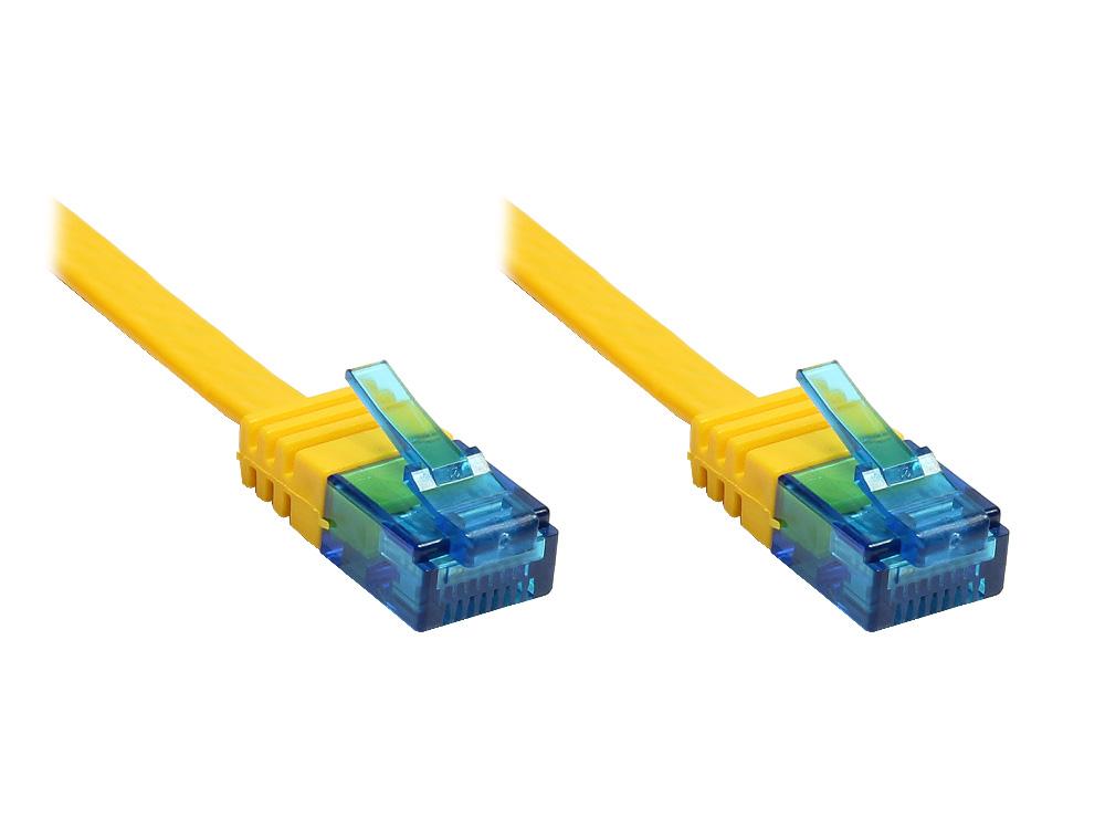 Patchkabel, Cat. 6a, U/UTP, FLACHKABEL, 500 MHz, gelb, 0,5m