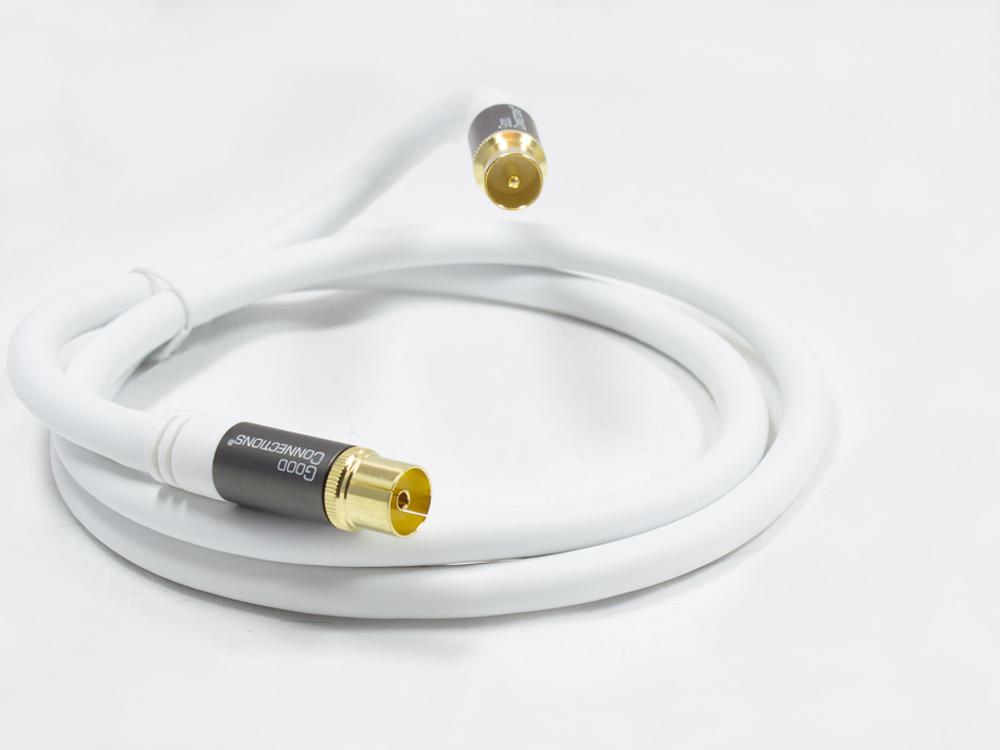 Antennenkabel SmartFLEX, IEC/Koax Stecker an Buchse, vergoldet, vierfach geschirmt, Schirmmaß 120dB, weiss, 2m