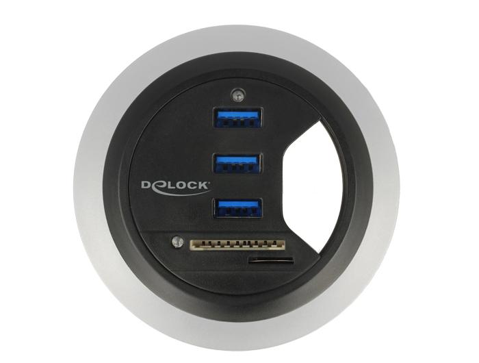 Delock® Tisch-Hub 3 Port USB 3.0 + 2 Slot SD Card Reader, schwarz [62869]
