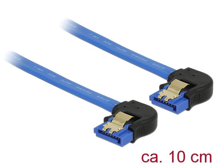 Delock® Kabel SATA 6 Gb/s Buchse unten gewinkelt an SATA Buchse unten gewinkelt, mit Goldclips, blau, 0,1m [85094]