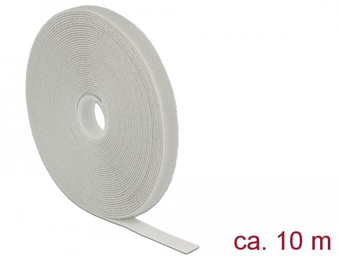 Delock® Klett-Kabelbinder L 10m x B 13mm, Rolle, grau [18277]