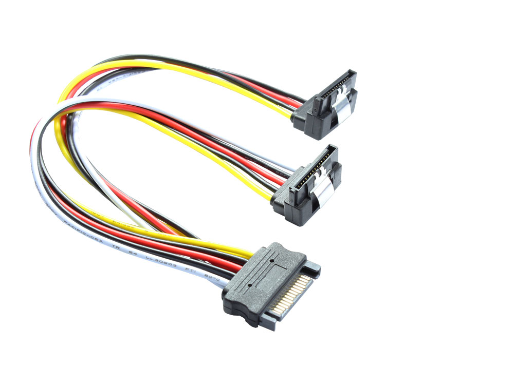 SATA Y-Stromkabel, SATA Stecker an 2x SATA Buchse 90° nach unten gewinkelt, 20cm