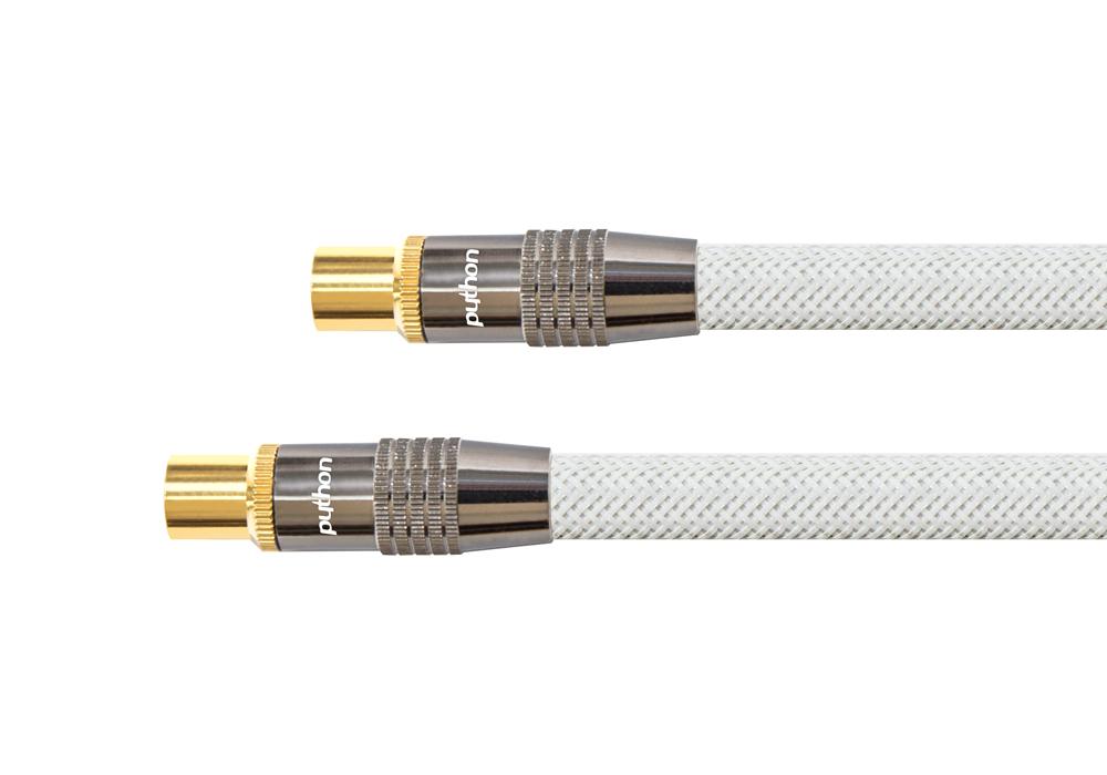 PYTHON® Series SAT Antennenkabel, IEC/Koax Stecker an Buchse vergoldet, Schirmmaß 120 db, 75 Ohm, Nylongeflecht, weiß, 10m