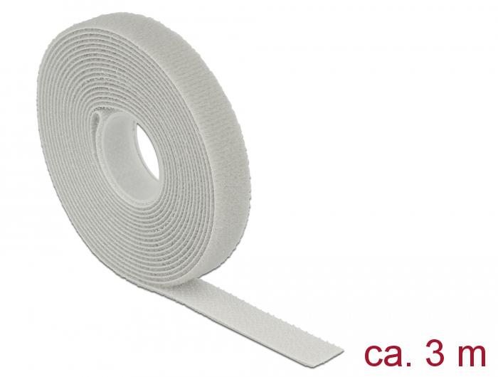 Delock® Klett-Kabelbinder L 3m x B 13mm, Rolle, grau [18275]