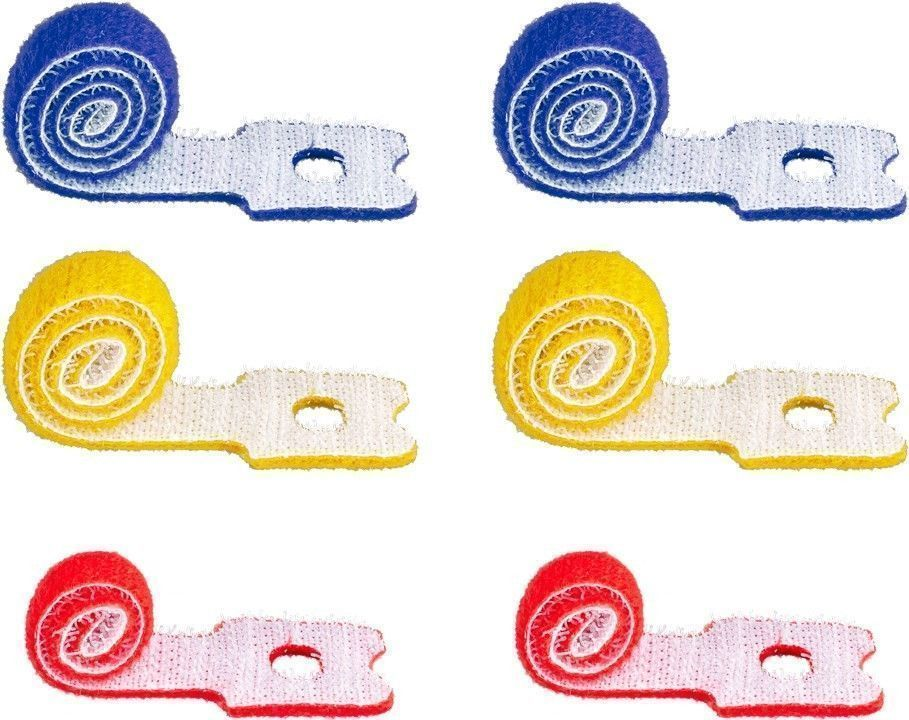 Kabelmanagement Klettverschluss mit Schlaufe (2x 10cm rot, 2x 15cm gelb, 2x 20cm blau), farbig, 6er-SET