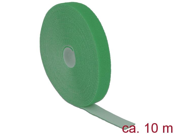 Delock® Klett-Kabelbinder L 10m x B 20mm, Rolle, grün [18732]