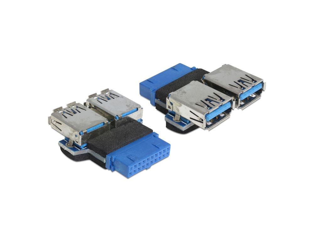 Delock® Adapter, USB 3.0 Pin Header Buchse an 2x USB 3.0 Buchse nebeneinander [65324]
