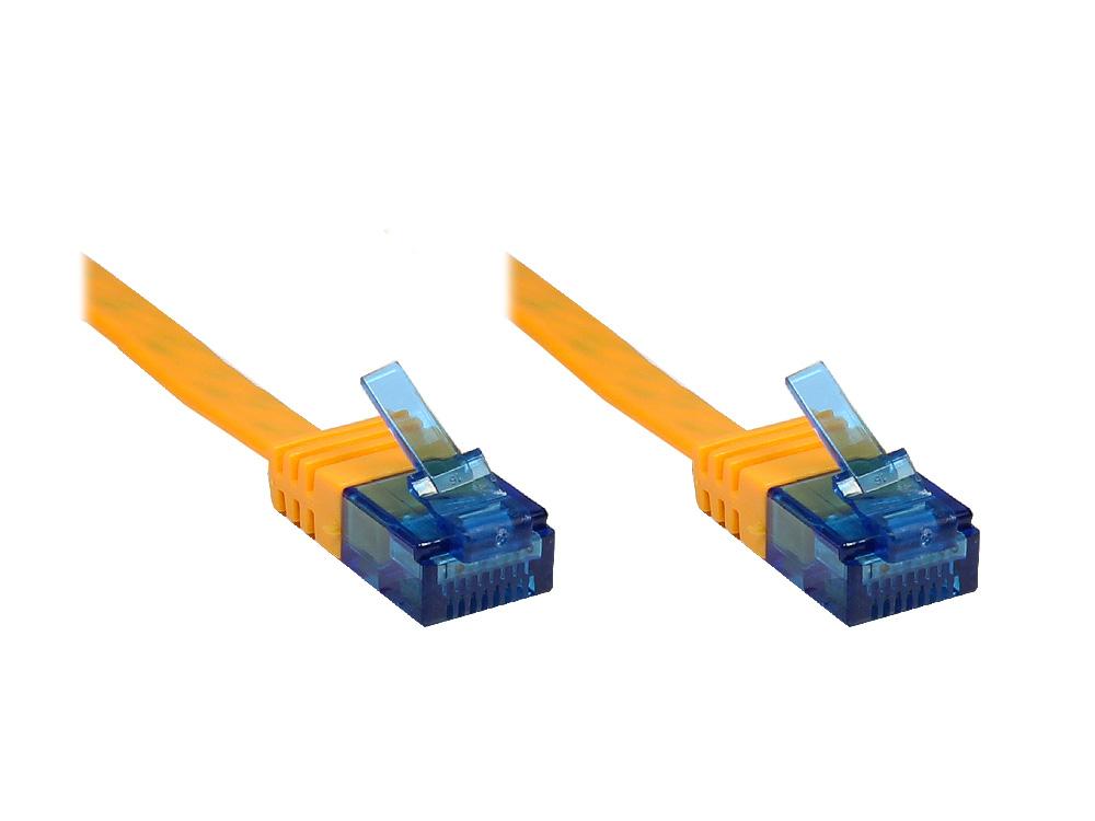 Patchkabel, Cat. 6a, U/UTP, FLACHKABEL, 500 MHz, orange, 15m