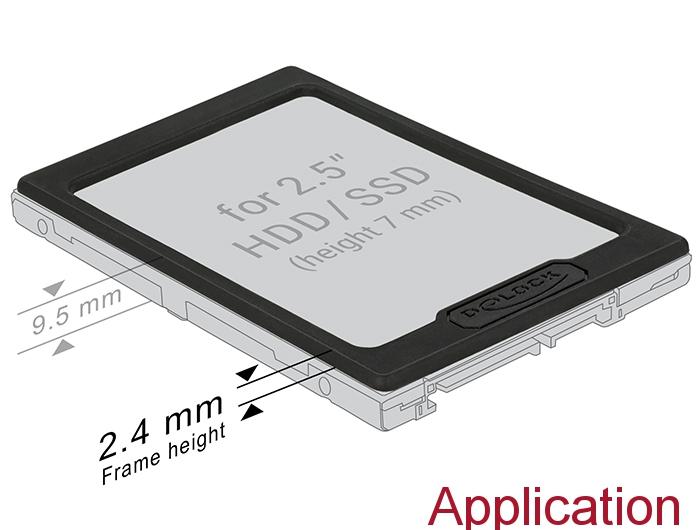 """Delock® 2.5"""" HDD / SSD Erweiterungsrahmen, schwarz [18216]"""