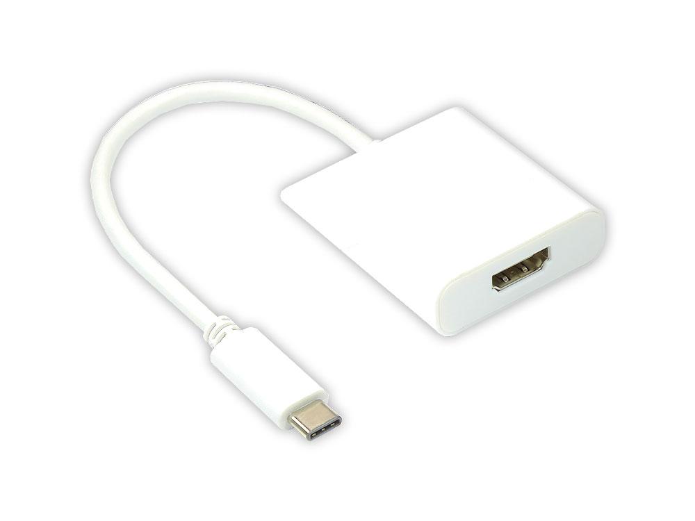 Adapter USB 3.1 C Stecker an HDMI A Buchse, Länge: 14cm, weiss