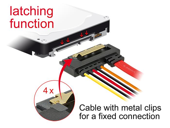 Delock® Kabel SATA 6 Gb/s, 7 Pin Buchse + SATA 15 Pin Strom Stecker an SATA 22 Pin Buchse unten gewinkelt, Metallclips, 0,3m [85229]