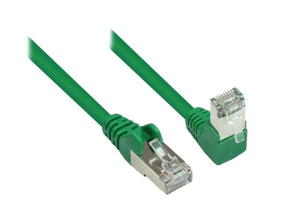 Patchkabel, Cat. 6, S/FTP, PiMF, 250MHz, einseitig 90° nach unten gewinkelt, grün, 20m