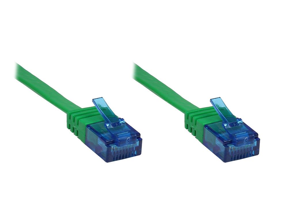 Patchkabel, Cat. 6a, U/UTP, FLACHKABEL, 500 MHz, grün, 5m