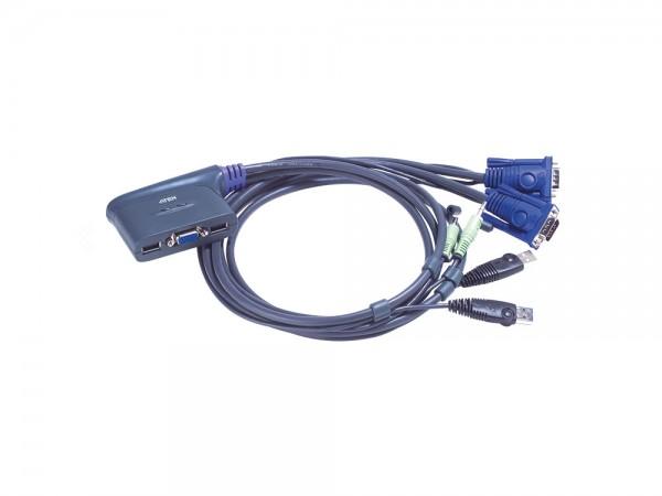 Aten® CS62US Mini KVM-Switch, 2 Ports, USB-Eingabe, VGA, Audio