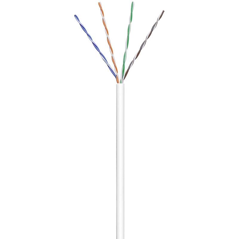 Patchkabel CAT 6, U/UTP, PVC, 250MHz, 4x2xAWG24/7, weiss, 305m