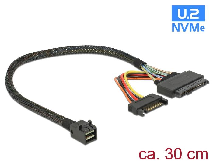 Delock® Kabel SFF-8643 Stecker an U.2 SFF-8639 + SATA Strombuchse, schwarz, 0,3m [84823]