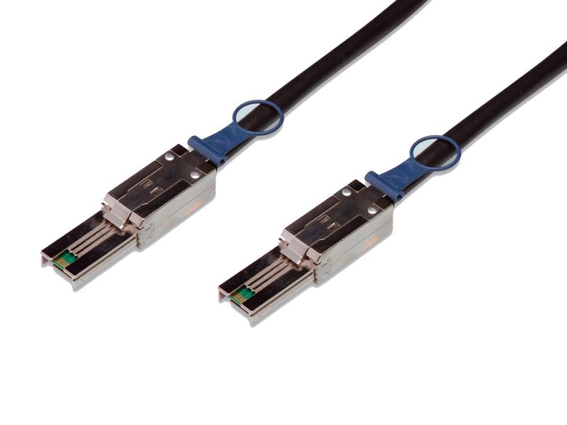 SAS Kabel SFF-8088 auf SFF-8088 Amphenol, extern mini SAS auf extern mini SAS, AWG 28, schwarz, 1m
