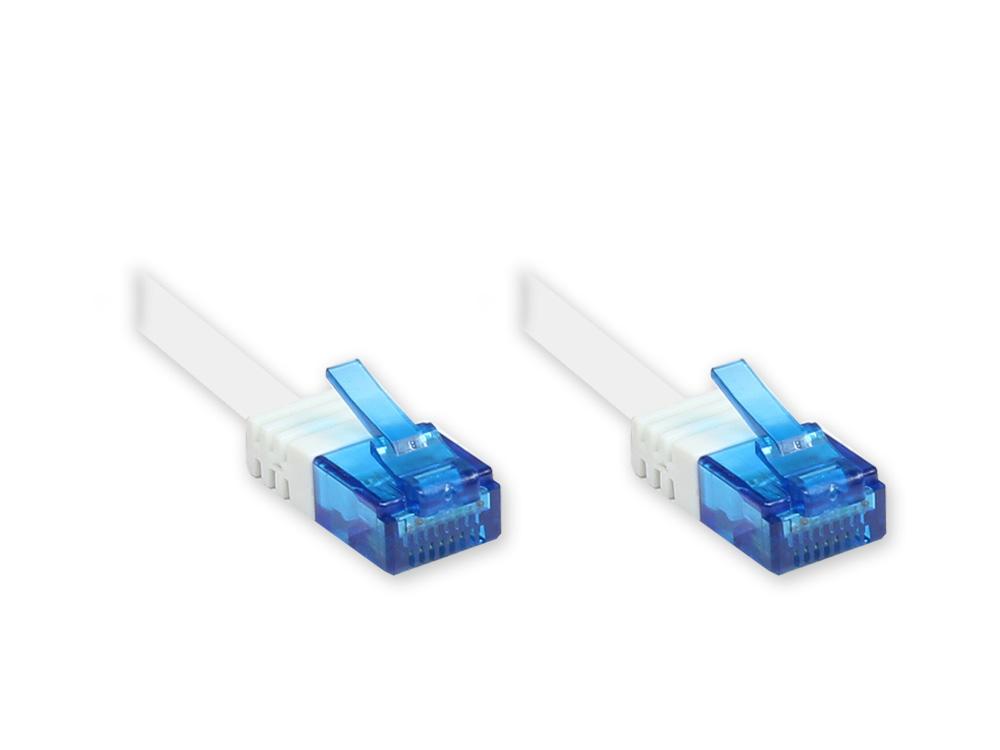Patchkabel, Cat. 6a, U/UTP, FLACHKABEL, 500 MHz, weiß, 0,5m